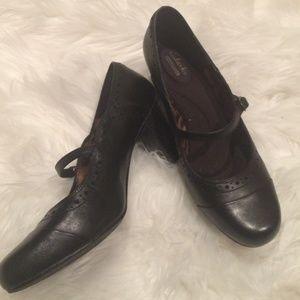 Clark's Vintage Style Black Heels